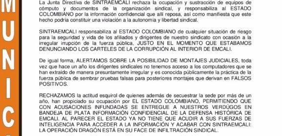 Estado colombiano allana sede SINTRAEMCALI en extrañas circunstancias e incauta computadores de la organización sindical