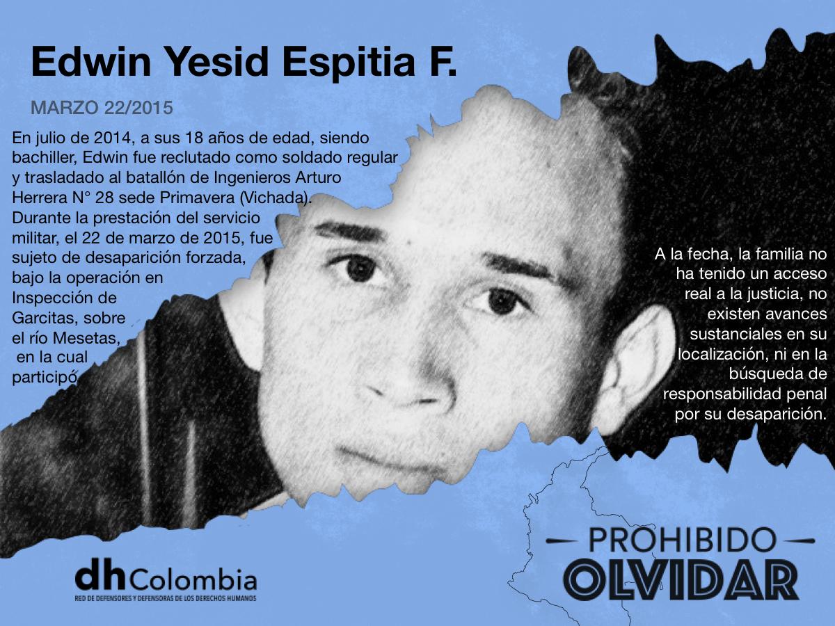 Edwin Yesid Espitia Fonseca desaparecido forzadamente en marzo de 2015 por el Ejército Nacional