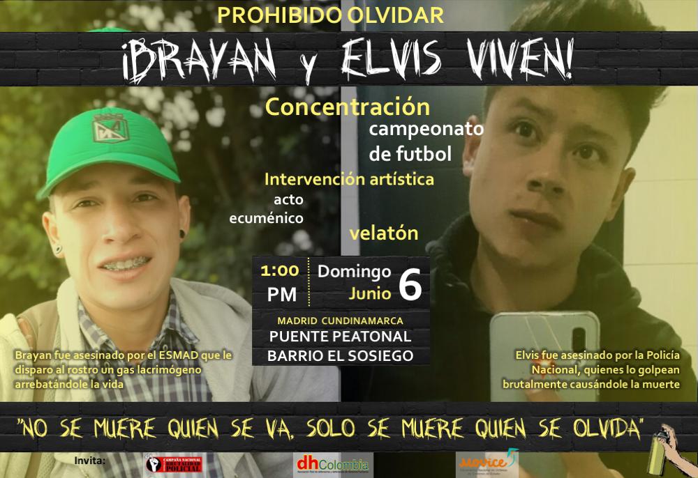 Brayan Niño y Elvis Vivas, asesinados por el ESMAD/Policía Nacional el 1 de mayo de 2021 – Conmemoración este domingo